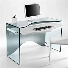 clear fiberglass based computer desk with white particle board