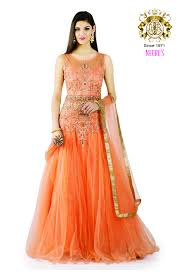 peach color gown suit