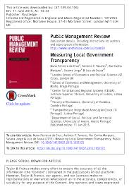 People S Biennial 187 Blog Archive 187 Setting The Table For by Measuring Local Government Transparency Pdf Download Available