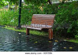 Park Bench Made From Recycled Plastic Park Bench With Seating Made From Recycled Plastic Stock Photo