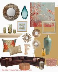 Red Color Living Room Decor Teal Gray Living Room With Brown Leather Couch Google Search
