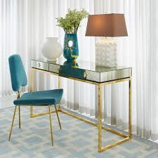 delphine mirrored desk modern furniture jonathan adler
