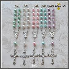 cheap rosaries religious gifts multi colors glass pearl rosary bracelet catholic
