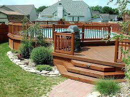 composite deck around inground pool above ground pools decks idea
