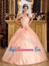 flowery one shoulder appliqued quinceanera dresses in peach color