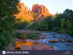 Cathedral Rock Reflections At Sunset Red Rock Crossing Sunset On Cathedral Rocks River In Foreground Sedona Arizona