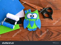 felt owl pattern bird play stock photo 423419191