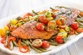 Roasted Vegetable Recipes by One Pan Roasted Harissa Salmon With Vegetables Recipe
