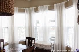 Bay Window Valance Decorations White Bay Window With Glass Window Has Peach Curtain