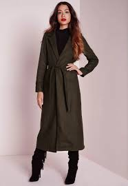 missguided wool belted duster coat khaki in natural lyst
