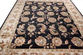 Area Wool Rugs Black Tufted Traditional Wool Area Rug Carpet