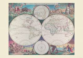 Double Map Vintage Double Hemisphere World Map 1689 Poster With Size U0026 Finish