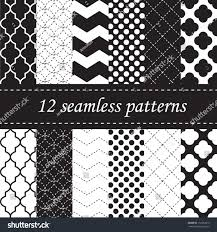 twelve seamless geometric patterns quatrefoil chevron stock vector