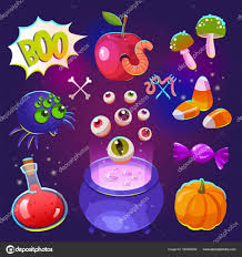 halloween witches set with funny and scary objects vector