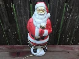 outdoor plastic lighted santa claus vtg 1960 s christmas blow mold santa claus lighted plastic figure
