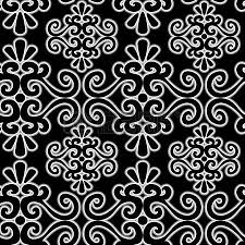 seamless ornament pattern with uncolored swirl elements royalty