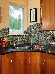 Black Kitchen Countertops With Backsplash Kitchen Creative Pebble Stones Kitchen Backsplash Ideas Featuring