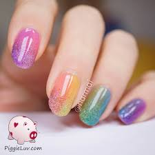 piggieluv double gradient glitter rainbow nail art with opi sheer