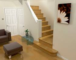 incridible straight staircase design with wood steps added white