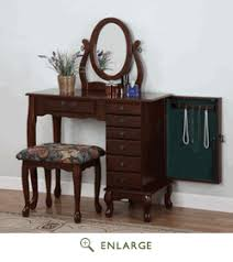 Turquoise Vanity Table Heirloom Cherry Finish Vanity Table Set Jewelry Armoire Powell