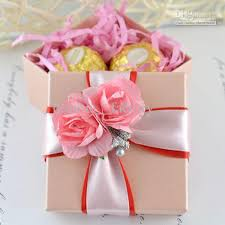 Jewelry Box Favors Pink Square Box With Ribbon Flower Decoration Wedding Favor Gift