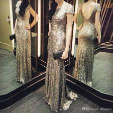 Rose Gold Sequin Prom Dresses Cap Sleeves Mermaid Prom Dress Shiny