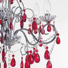 Chrome Crystal Chandelier by Vara 5 Light Bathroom Red Crystals Chandelier Chrome