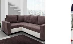 canapé marron canape angle en tissu avec couchage et coffre de rangement
