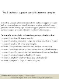 Technical Support Resume Template Top 8 Technical Support Specialist Resume Sles 1 638 Jpg Cb 1427855784