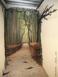 in the middle trompe l oeil door decal description from pinterest cool hand painted mural creating an illusion of a bamboo lined path at the end of a hallway