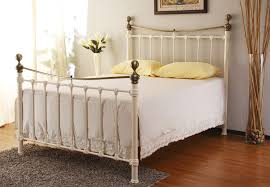 monmouth ivory metal bed 4ft6 bedroom furniture direct