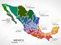 Map Of Yucatan Mexico by Map Of Mexico Concept Infographic Template With States Made Out