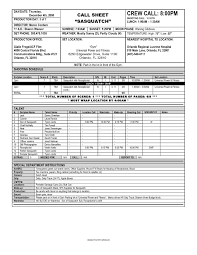 Call Sheet Template Call Sheets Template It Resume Cover Letter Sle