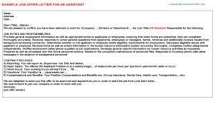 hr assistant offer letter