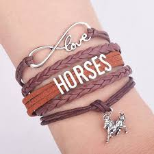 leather bracelet silver charms images Infinity love horse charm leather bracelet silver plating letters jpg
