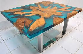 topography coffee table solid wood and resin custom made furniture manufacturing for