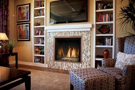 fireplace with rectangle white brown frame combined with shelf