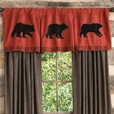 Cabin Style Curtains Trees Wildlife Window Curtains For Cabins Interior Design