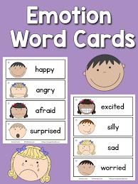 emotion word cards prekinders