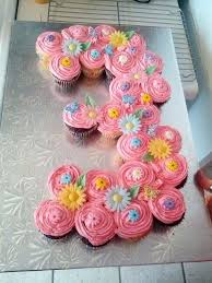 cupcake birthday cake number 3 with cupcakes flowers pull apart cupcake birthday cakes
