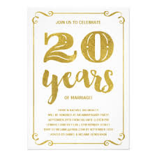 20 year wedding anniversary 20 year wedding anniversary invitations announcements zazzle co uk
