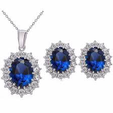 blue crystal necklace set images Fashion blue crystal stone wedding jewelry sets for brides silver jpg