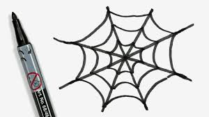 how to draw a cartoon halloween spiderweb easy doodle for