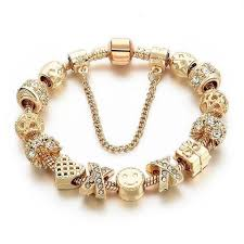 charm bead bangle bracelet images Gold crystal heart beaded bangle charm bracelet various charms to jpg