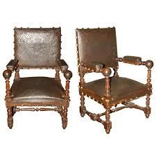 Antique Leather Armchairs For Sale 19th Century Spanish Leather Chairs For Sale Antiques Com