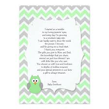gift card baby shower poem baby shower thank you poem gifts on zazzle