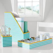aqua blue desk accessories printed stripe desk accessories decor by color