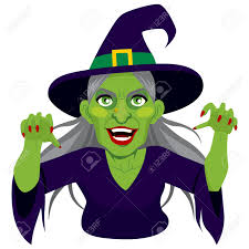 halloween scary background green old evil scary green skin witch with menacing expression showing