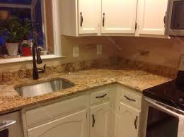 Kitchen Cabinets Without Hardware Granite Countertop Sink Base Cabinet Red Glass Tiles Backsplash