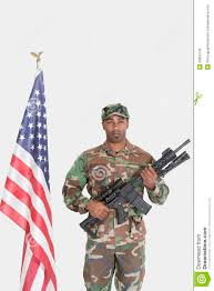 Marines Holding Flag Portrait Of Us Marine Corps Soldier With M4 Assault Rifle Standing